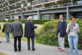 Visitors from Bremen at the Splayed Apartment Blocks in Ommoord